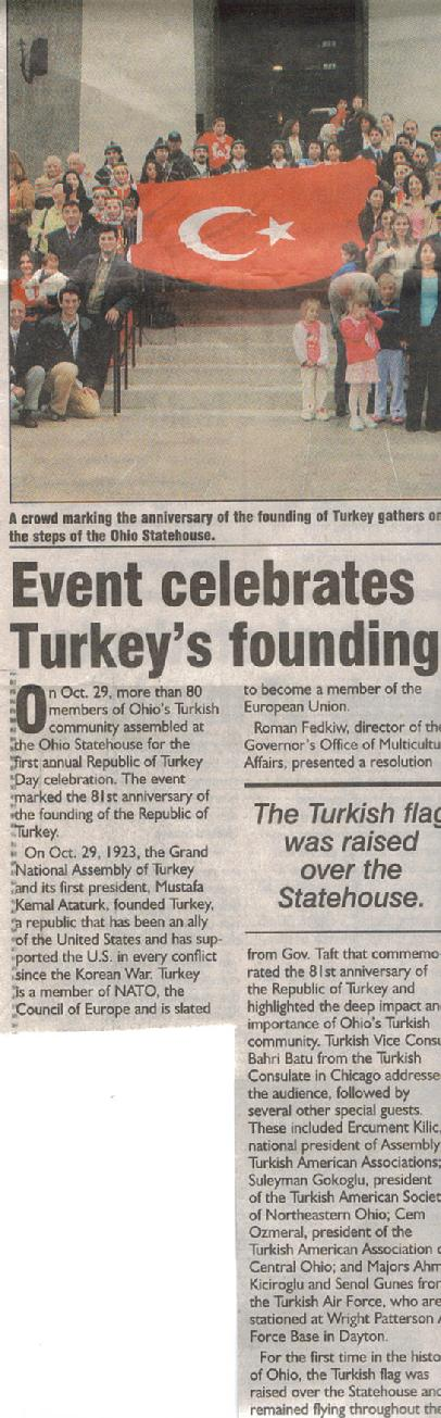 TURKISH FLAG RAISING CEREMONY AT STATE CAPITOL, COLUMBUS OHIO