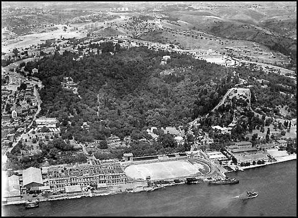 CIRAGAN PALACE RUINS AND SEREF SATADIUM, ISTANBUL, CIRCA 1960